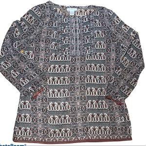 Liz Claiborne Sheer Tuxedo Front Blouse Size Large